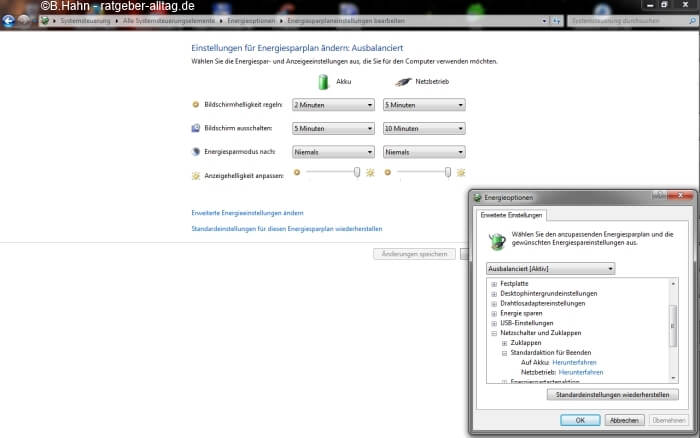 Standby abschalten in Windows 7