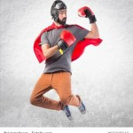 Superhero with boxing gloves
