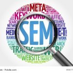 SEM - Search Engine Marketing word cloud with magnifying glass, business concept